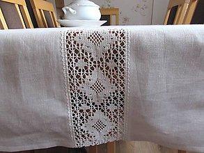 Úžitkový textil - Biely ľanový obrus Marguerite - 11134642_