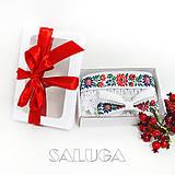 - Darčekový balíček - kazeta - pre pár - folklórny opasok + motýlik - 11136280_
