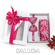Doplnky - Darčekový balíček - kazeta - motýlik + kravata - 11136299_