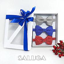Doplnky - Darčekový balíček - kazeta - set bodkovaných motýlikov - 11136301_