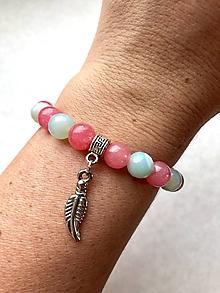 Náramky - Dámsky náramok z minerálov mentolový brusený achát a ružový jadeit - 11136241_