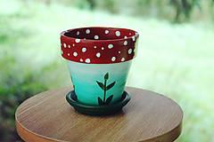 Nádoby - Muchotrávka - malý kvetináč z terakoty - 11136739_