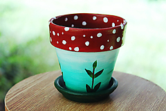 Nádoby - Muchotrávka - malý kvetináč z terakoty - 11136740_