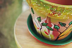 Nádoby - Terakotový kvetináč - Jeseň (väčší) - 11136772_
