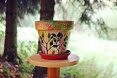 Nádoby - Terakotový kvetináč - Jeseň (väčší) - 11136773_
