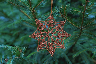 Dekorácie - vianočná ozdoba na stromček - medená hviezda - 11134510_