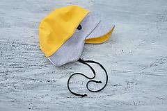Detské čiapky - Pružná šiltovka žlto-sivá - 11137042_