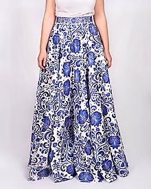 Sukne - VEJANA - potlač FOLK ROSES (modrá na bielej) - 11135668_