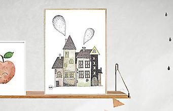 Detské doplnky - Art Print - farebné domčeky - 11137173_