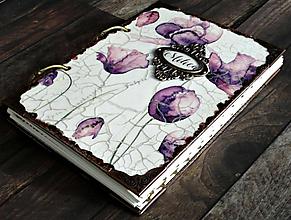 Papiernictvo - Luxusný romantický fialový zápisník/denník/ Diár 2021 - 11135339_