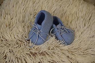 Topánočky - vlnené plstené capačky 9cm - bledo modré - 11135305_