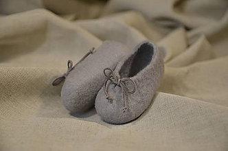 Topánočky - plstené capačky - šedé uni - 11135358_
