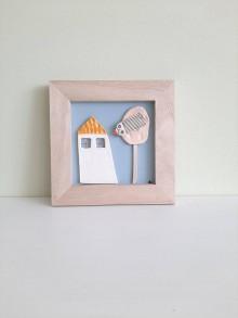 Obrazy - Malý keramický obrázok - Domček so žltou strechou - 11134603_