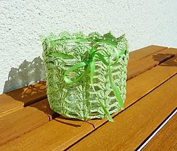 Svietidlá a sviečky - Háčkovaný svietnik, zelený - 11133613_
