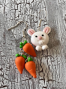 Náušnice - zajko a mrkvičky-náušnice - 11134585_