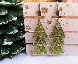 Náušnice - Vianočné náušnice visiace vianočné stromčeky, nerezová oceľ - 11136444_