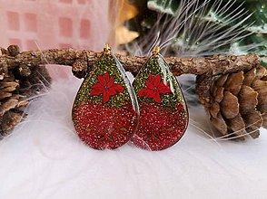 Náušnice - Vianočné náušnice visiace s vianočnou ružou, nerezová oceľ - 11136676_