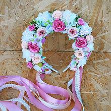 Ozdoby do vlasov - Parta z ruží s perličkami bielo-ružová - 11138840_