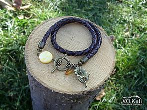 Náramky - Wrap náramok z pletenej kože - 11137483_