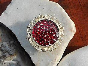 Odznaky/Brošne - red garnets-pyrop-brošňa-granát - 11140528_