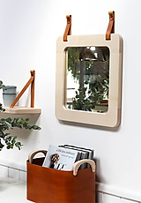 Zrkadlá - Zrkadlo s koženými úchytkami - 11139741_
