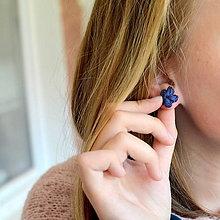 Náušnice - zakvitnuté CUTE blue-mint (tmavomodré) - 11138571_