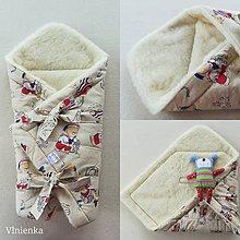 Textil - VLNIENKA Klasická zavinovačka pre novorodenca zimná 100% MERINO TOP Macko - 11140561_