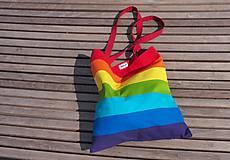 Nákupné tašky - Bavlnená taška dúhová pásikavá - 11138016_