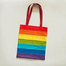 Nákupné tašky - Bavlnená taška dúhová pásikavá - 11138001_