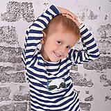 Detské oblečenie - Pííískacie tričko panda modrá dlhý rukáv - 11137491_