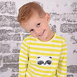 Detské oblečenie - Pííískacie tričko panda žltá dlhý rukáv - 11137538_