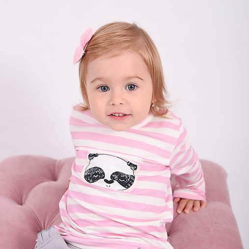Pííískacie tričko panda ružová dlhý rukáv