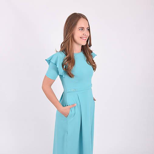 Šaty - Šaty na dojčenie - aqua s volánom dlhé - 11137642_