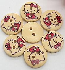 Galantéria - Drevený gombík Hello Kitty - 11140472_