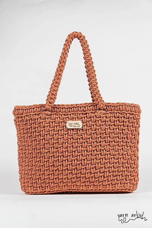 Veľké tašky - Háčkovaná taška STELA, terracotta - 11139611_