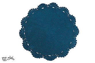 Úžitkový textil - Háčkovaný koberec PEACOCK BLUE Ø136 - 11138895_