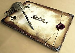 Papiernictvo - Svadobná kniha hostí,Album na fotky/Album PERGAMEN (Kniha hostí) - 11138470_