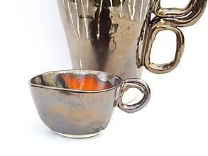 Nádoby - šálka oranžovo kovová - 11138356_