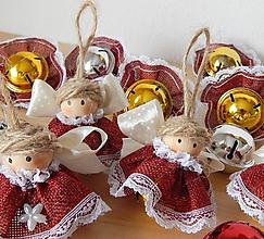 Dekorácie - Vianočná ozdoba - Anjelik / rolnička zlatá - cingi lingi - 11141759_
