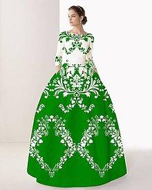 """Šaty - FLORAL FOLK """" Slovenská ornamentika """", spoločenské dlhé šaty (Zelená + biela + biely vzor) - 11140750_"""