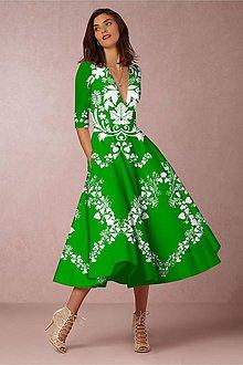 "Šaty - FLORAL FOLK "" Slovenská ornamentika "", spoločenské šaty v dĺžke midi (Zelená) - 11140761_"