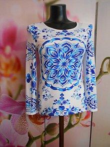 """Tričká - FLORAL FOLK """" Modrotlač """", tričko s dlhým rukávom (Tyrkysová) - 11140784_"""