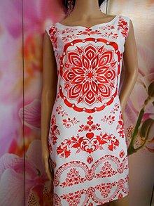"""Šaty - FLORAL FOLK """" Modrotlač """", mini šaty  (Červená) - 11141099_"""