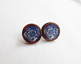 Náušnice - Drevené živicové náušnice - Folk modré kvety - 11142220_