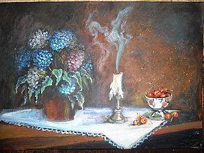Obrazy - Zátišie na stole, s bielym obrúskom - 11142569_