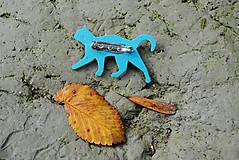 Brošne - Tyrkysová mačka - 11141078_