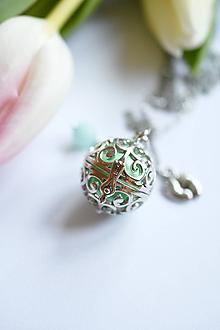 Náhrdelníky - Mexická bola s jadeitem ♥ MINT (nerez ocel) - 11141479_