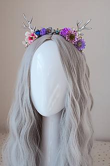 Ozdoby do vlasov - Malá fialová kvetinová čelenka s parožím - 11140724_