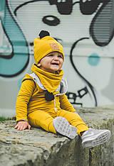 Detské oblečenie - Overal Dino mustard - 11140872_