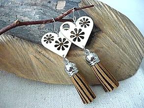 Náušnice - drevené folk náušnice-natur - 11142539_